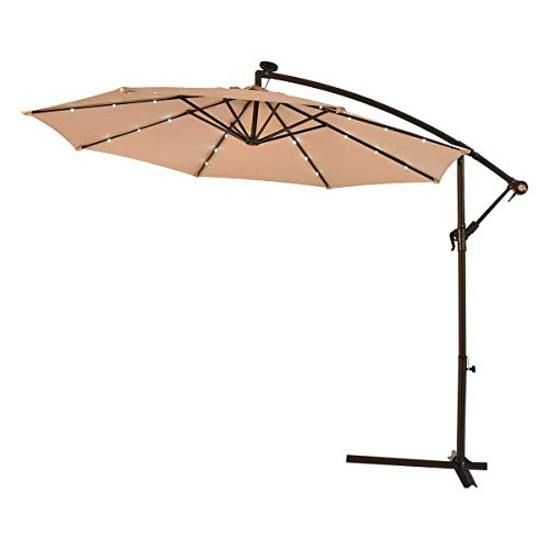 Tangkula 10FT Outdoor Patio Umbrella Solar LED Lighted Sun Shade Market Umbrella with Hanging Cover and Cross Base (Beige)