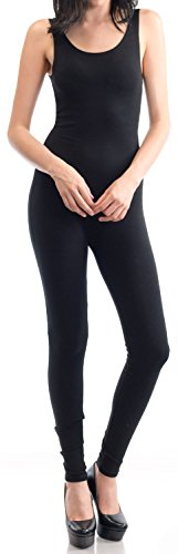 URBAN K WOMENS Active Plus and Regular Size Yoga Wear Sleeveless Unitard Bodysuit Jumpsuits, Ubk310_black, Large -