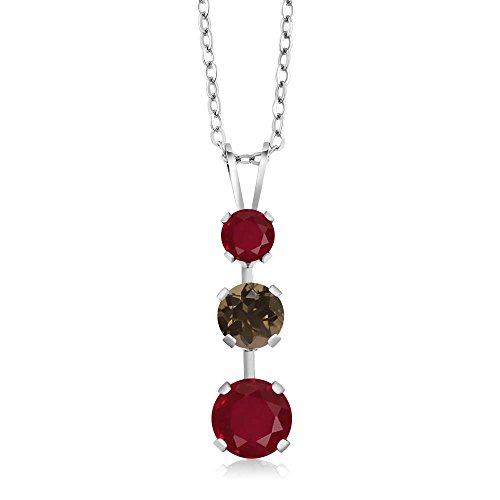 Gem Stone King 1.76 Ct Round Red Ruby Brown Smoky Quartz 925 Sterling Silver 3 Stone Pendant ()