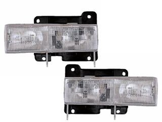 HEADLIGHTSDEPOT Chrome Housing Halogen Headlights Compatible with Chevrolet GMC Blazer C/K 1500 2500 3500 Suburban Tahoe Yukon Denali Includes Driver and Passenger Side Headlamps Comes with Bulbs