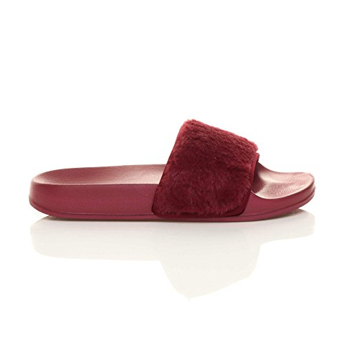 Scuro Donna numero infradito ciabatta pelliccia slides Rosso sandali piatto comodo pantofole rprqvZ
