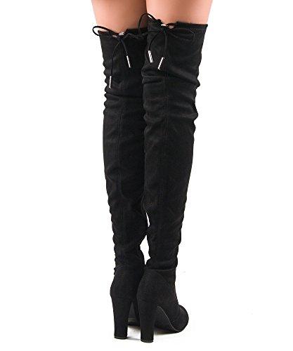 RF RAUM DER MODE Frauen Mode Bequeme Vegane Wildleder Blockabsatz Seitlicher Reißverschluss Oberschenkel Hohe Overknee Stiefel Schwarz Su