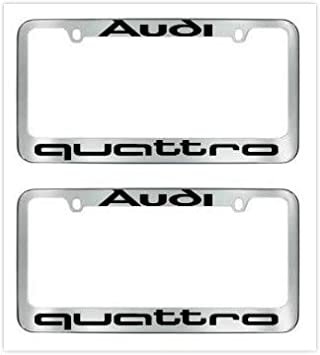 Sparkoo Genuine Stainless Steel Quattro Sport License Plate Metal Chrome Silver Frame with Screw Cap Covers Holder for All Au di 1