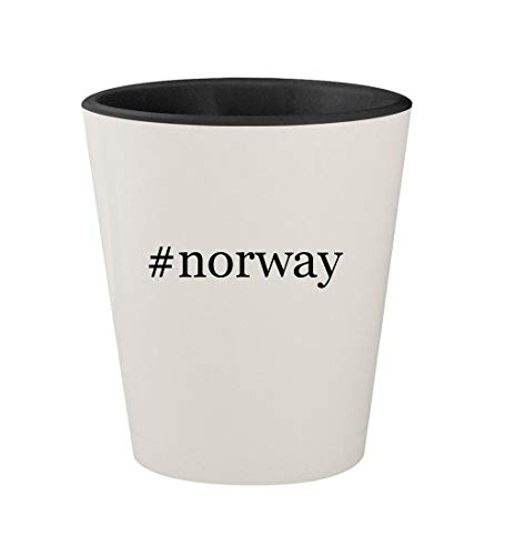 #norway - Ceramic Hashtag White Outer & Black Inner 1.5oz Shot Glass