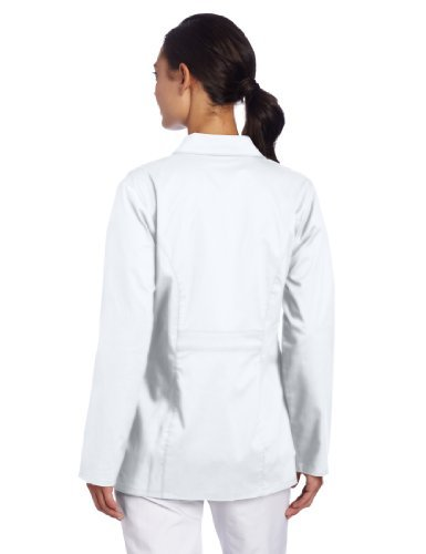 Dickies Women's Gen Flex Junior Fit Contrast Stitch Lab Coat, White, X-Large Color: White Size: X-Large Model: 82408