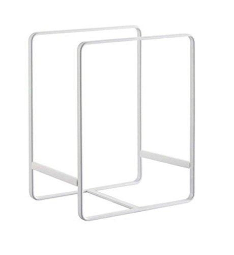 (Metal Plate Dish Organizer Rack Stand for Kitchen Cabinet, Counter and Cupboard (Large, White))