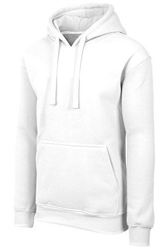 Heavyweight White Pullover Hood (JC DISTRO Plus Size Hipster Hip Hop Basic Heavyweight Pullover White Hoodie Jacket 2XL)