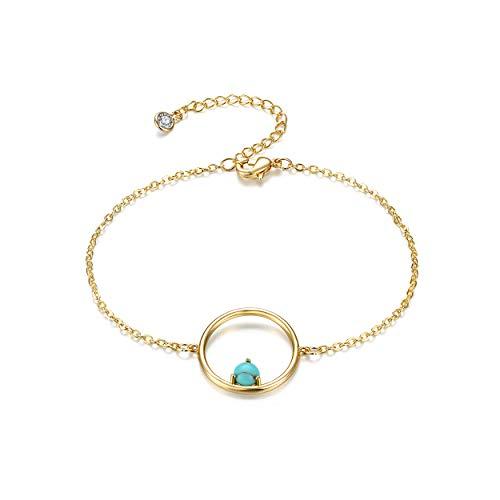 Dremmy Gold Karma Bracelet,14K Gold Plated Circle Bracelets with Tiny Turquoise Bead (Link Gold 14k Circle)