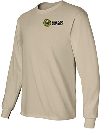 MilitaryBest U.S. Army Vietnam Veteran Embroidered Long Sleeve T-Shirt Tan