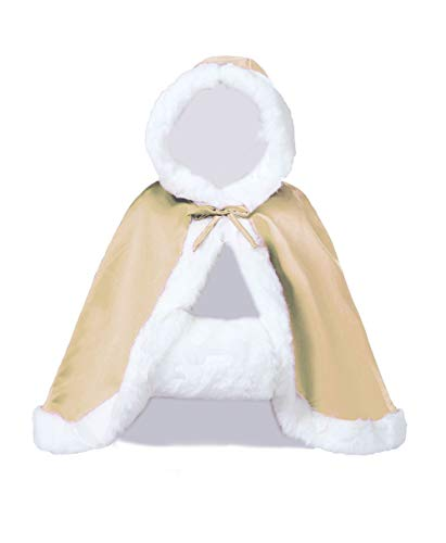 Wedding Cape Hooded Cloak for Bride Winter Reversible with Fur Trim Free Hand Muff Hip-length Champagne