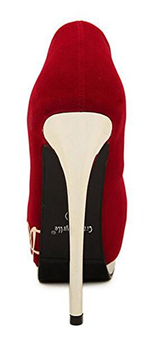 Chfso Womens Stiletto Sexy Bout Rond En Daim Bas Haut Slip Sur Talon Haut Escarpins Chaussures Chaussures Rouge