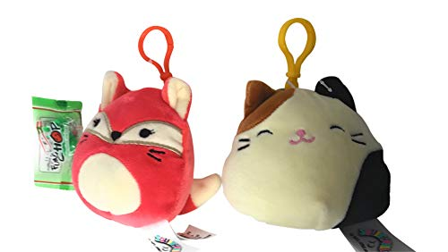 Squishmallow Clips Bundle of 2, Includes Cameron The Cat, Fifi The Fox, and a Fun Chop Chopstick Holder