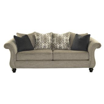 """Curves 93"""" Sofa Coil Seating Uniformed Shape Consistent Support Panels with Brads Rolled Arms in Stone Natural Finish Plus FREE GIFT"""