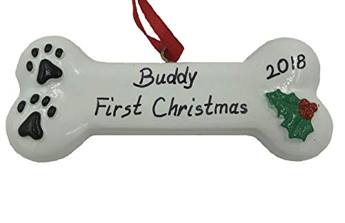 Personalized Puppy Dog Pet Bone First Christmas Ornament 2018 Free Personzalization