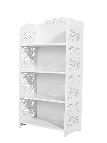 Dline - 4 Tiers Wood-Plastic Composites Storage Shelf, White by DLINE