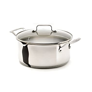 Emeril by All-Clad E9234664 Stainless Steel 5-Quart Soup Pot with Pour Spouts with Glass Lid, Silver