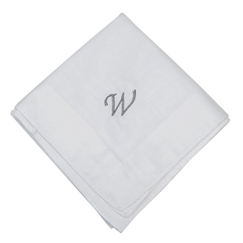 OWM Handkerchief Cotton Embroidered Custom Initial Monogram Handkerchief Men (W, - Handkerchiefs Mens Personalized