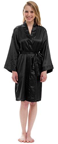 - Leisureland Women's Satin Robe Bridesmaid Robe Kimono Dressing Gown (S/M, Black)