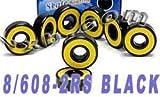 Skateboard Bearing, Yellow, 8x22x7, Sealed (Pack of 8)