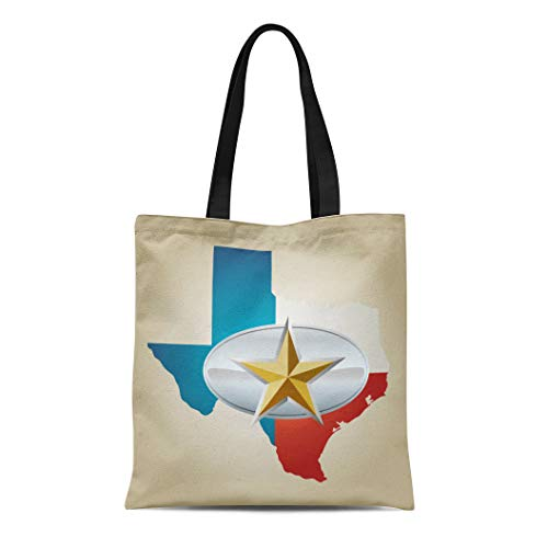 Semtomn Canvas Tote Bag Blue Texas Flag and State Shape Star Belt Buckle Durable Reusable Shopping Shoulder Grocery Bag ()