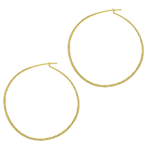 (And Lovely 14K Gold Plated Hammered Textured Hoops - Boho Chic Wire Hoop Earrings (Matte Gold 55mm))