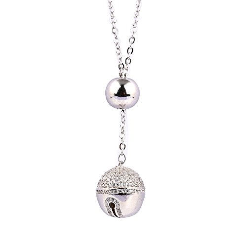 Oudin Women's 925 Sterling Silver Bell and Bead Dangling Necklace (Bell)