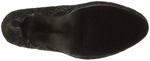 Schwarze pumps Spitze und Glitzer-Heels für 11 cm und Mini-Plattform