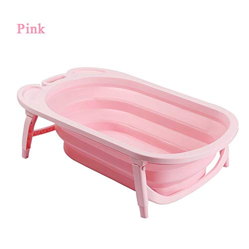 Collapsible Bathing Tub, FOME Non-Slip Portable Folding Baby Bath Tub Foldable Shower Basin Collapsible Baby Bathtub Baby Shower Basin with Temperature Sensing for Infants Kids Aged 0-6 Years Old