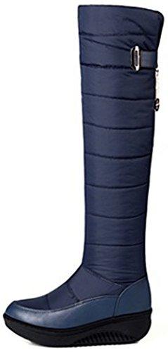Sur Rond Butins Genou Femmes Bout Chaud Bleu Tirer Neige Easemax Talons Des De Haute Wedge Mi Plus WUwTp4