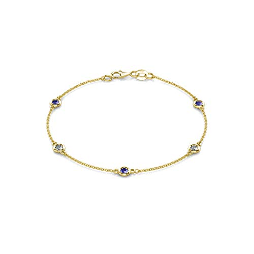TriJewels Tanzanite and Lab Grown Diamond 3mm Womens Station Bracelet 0.47 ctw 14K Yellow Gold (Ctw Diamond Tanzanite Bracelet)