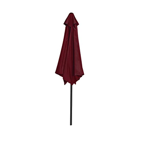 ALEKO UMB9FTBG Outdoor Patio Table Umbrella Waterproof Polyester with Tilt Adjustment 8 x 9 Feet Burgundy - ALEKO's patio umbrella offers shade is just what your patio needs so you can enjoy those clear warm days! Convenient hand crank opens the umbrella in less than a minute, and the canopy can be tilted to set the angle of your shade Fabric is made of waterproof, 180 grams per square meter polyester - shades-parasols, patio-furniture, patio - 31ptnGERVwL. SS570  -