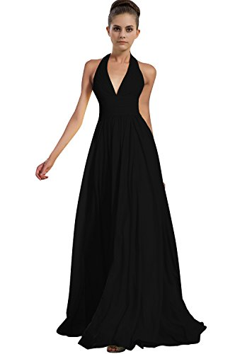VaniaDress Women Halter Long Bridesmaid Dress Formal Evening Gowns V276LF Black US18W