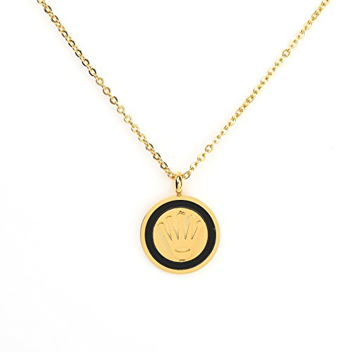 Contemporary Gold Tone Designer Necklace with Royal Crown Pendant and Faux Onyx Inlay (160081) (Contemporary Faux Necklace)