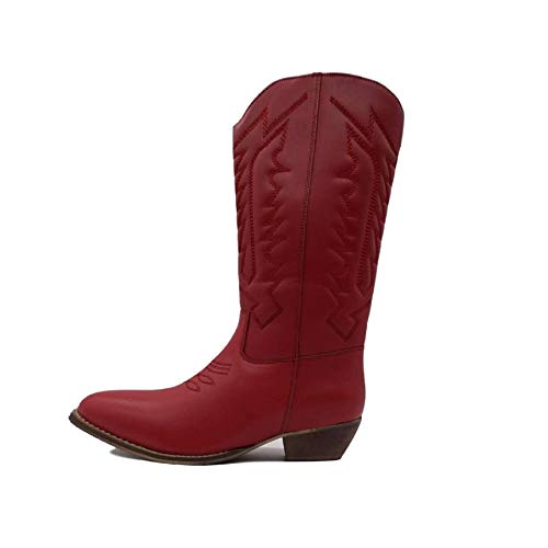 Cowboy Biker a Heel Riding Ladies metà sb polpaccio Boots Womens Red Designer fERgfq5
