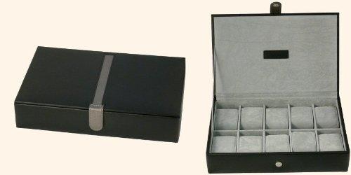 Leathersmith of London Uhrenbox echtes Leder Platz für 10 Uhren