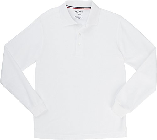 French Toast School Uniform Boys Long Sleeve Pique Polo Shirt, White, Small (6/7)