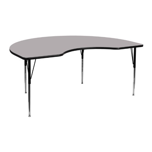 Flash Furniture 48''W x 72''L Kidney Grey Thermal Laminate Activity Table - Standard Height Adjustable (Childrens Kidney Shaped Activity Table)