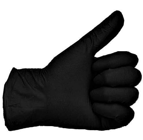 200 Vakly Black Latex Gloves - Powder Free - (Medium) - 200 Count