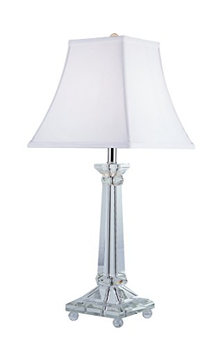 - Trans Globe Lighting CTL-100 Table Lamp with White Linen Shade, Polished Chrome Finished