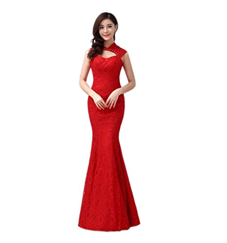 VogueZone009 Womens Low Collar Lace Sleeveless Formal Dresses with Backless, Red, 16 by VogueZone009