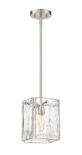 One Satin Light Platinum Pendant - Designers Fountain 89030-SP Madison Square - One Light Mini Pendant, Satin Platinum Finish with Clear Artisan Glass