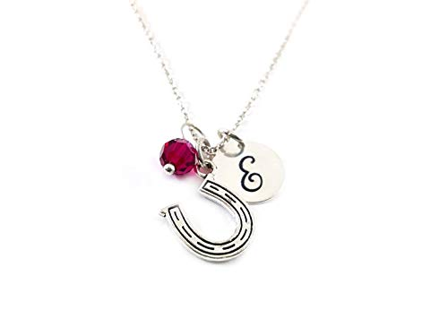 Horseshoe Necklace - Equestrian Charm - Personalized Initial Sterling Silver Custom Jewelry