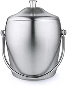 Ice Buckets, 2 Litre Stainless Steel Double Wall Ice Bucket Container with lids, Ice Cube Bucket Thick Ice Pail, for Parties, Wine, Beers,etc