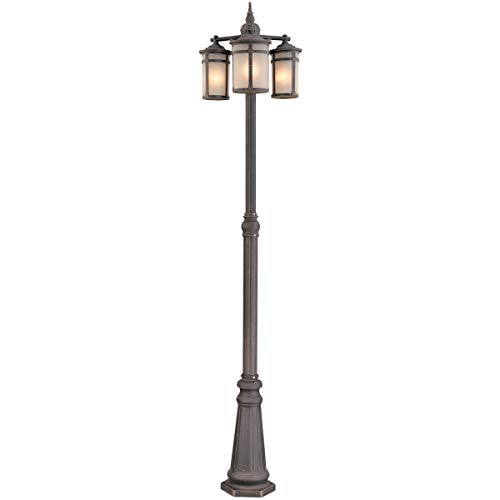 "Outdoor Post 3 Light Bulb Fixture with Bronze Finish Cast Aluminum Medium 20"" 300 Watts"