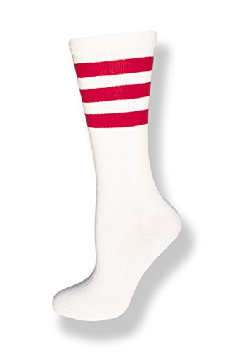 Neon Nation Unisex Calf High White Sock w/ Three Stripes (White w/ Red Stripes), Fits US Size 9-12