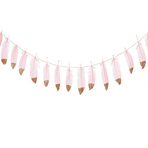 Ling's moment 10FT Rose Gold Glitter Dipped Light Pink Feather Banner Garland for Boho Bedroom Teepee Decorations, Boho Theme Wedding Bridal Baby Shower Decor