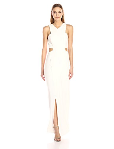 Halston Heritage Women's Sleeveless V Neck Crepe Gown With Side Cut Outs, chalk, 8