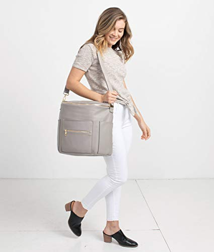 Fawn Design Original Diaper Bag Designed for Women - Backpack for Baby Essentials, Diapers, and Everyday Use - Premium Faux Leather, Interior/Exterior Pockets, Interchangeable Straps - Gray 2019 by Fawn Design (Image #4)