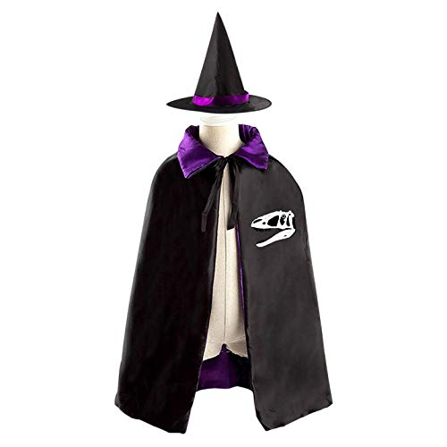 SeVam Dinosaur Skeleton Head Kids Halloween Two-Sided Cloak Vampire Cowl Magic Costume Cape + Witch Hat Boys Girls ()