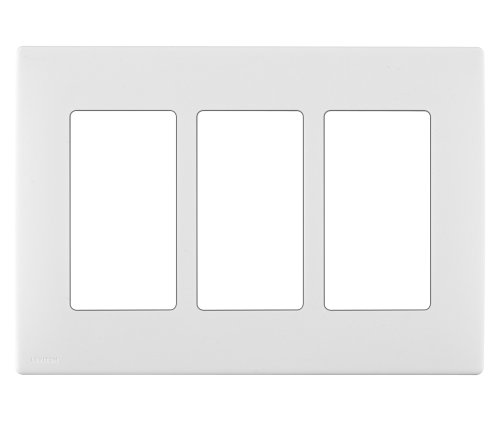 Leviton REWP3-WW Renu Three-Gang Screwless Snap-On Wallplate, White on White - Leviton Three Gang